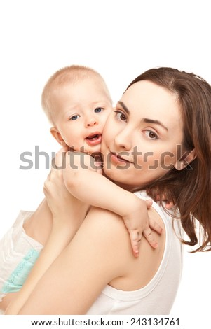 Picture of happy mother and adorable baby with one teeth in his mouth isolated on white - stock photo