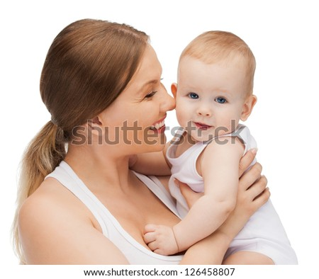 picture of happy mother with adorable baby.
