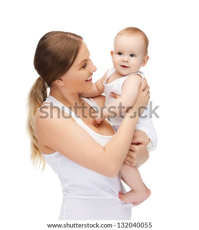 picture of happy mother with adorable baby. - stock photo