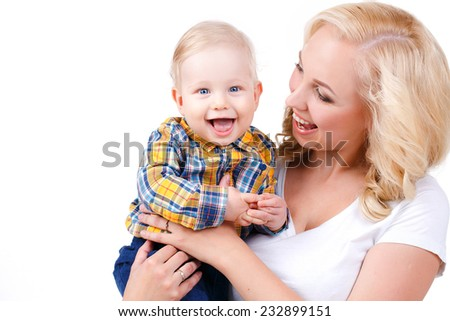 picture of happy mother with baby over white. Mother holding sweet baby boy.  - stock photo