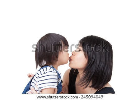 Picture of happy mother with kid girl on  white background - stock photo