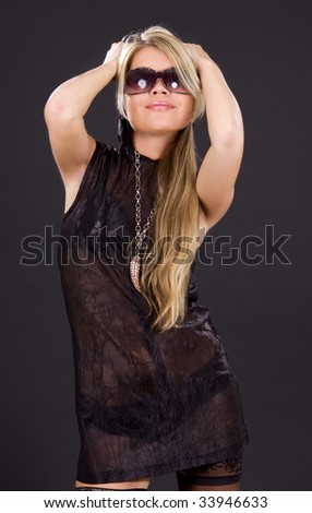 picture of happy party girl over black - stock photo