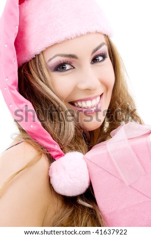 picture of happy santa helper with gift box - stock photo