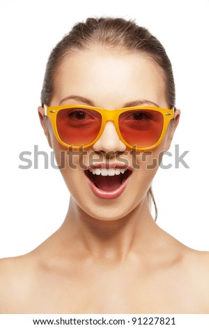 picture of happy screaming teenage girl in shades - stock photo