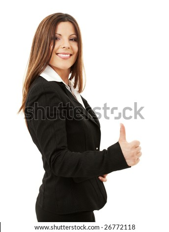 picture of happy successful businesswoman over white - stock photo