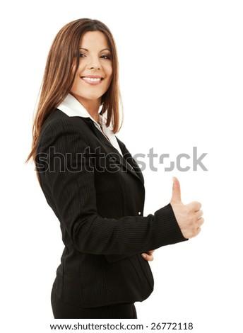 picture of happy successful businesswoman over white - stock photo