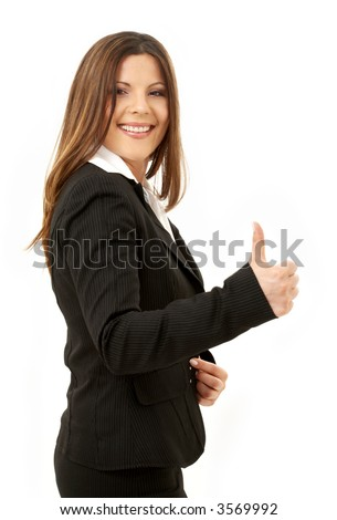 picture of happy successful businesswoman over white