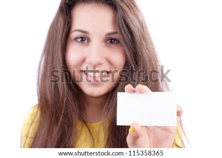Picture of happy teenage girl with blank board
