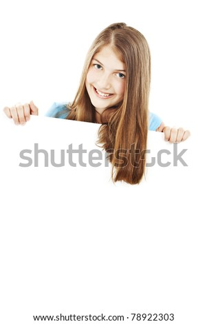 Picture of happy teenage girl with blank board. - stock photo