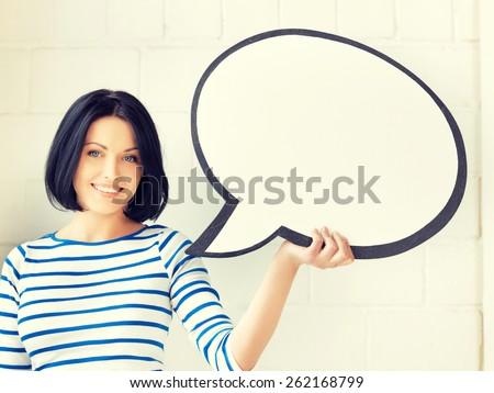 picture of happy teenage girl with blank text bubble - stock photo
