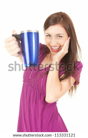 picture of happy teenage girl with blue mug, white background - stock photo
