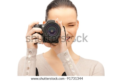 picture of happy teenage girl with digital camera - stock photo