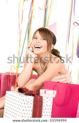 picture of happy teenage party girl with gifts - stock photo