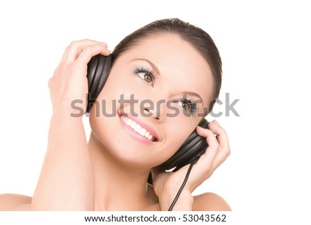 picture of happy woman in headphones over white