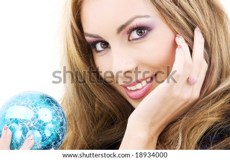 picture of happy woman with blue christmas ball - stock photo