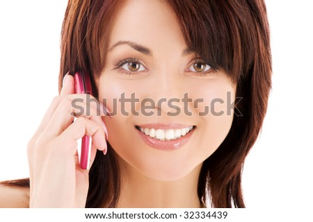 picture of happy woman with cell phone - stock photo