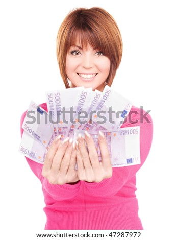 picture of happy woman with money over white - stock photo
