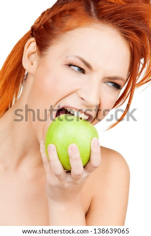 picture of healthy woman biting green apple - stock photo