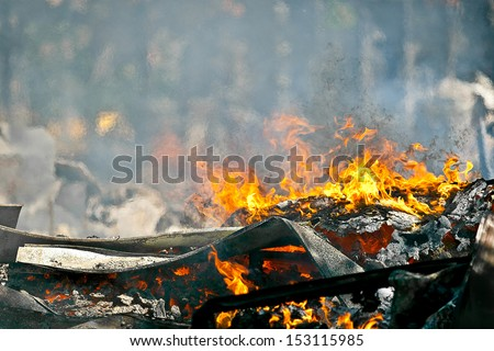 Picture of Heat caused by a Very hot Fire creating air movement effect - stock photo