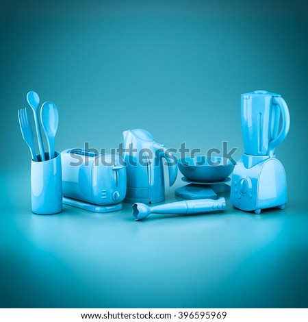picture of household appliances on a blue background.3D - stock photo