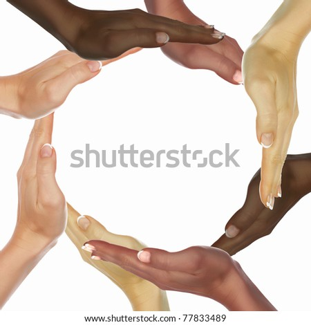 picture of human hands of persons of different races - stock photo