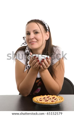 Picture of humorous look at a typical housewife.  Parody. - stock photo