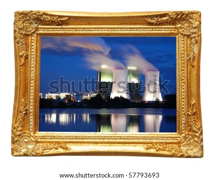 picture of industry at night in image frame on a wall - stock photo