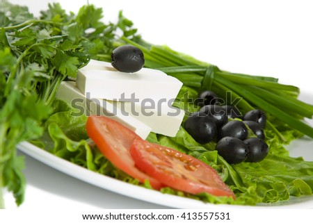 Picture of ingredients of greek salad - stock photo