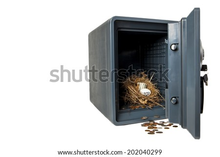 Picture of Isolated Fireproof Safe On White Background With Coins, Money 401 K Nest Egg is Safe and Secure - stock photo