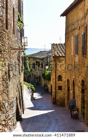 Picture of Italian Street And Man Walking #2 - stock photo