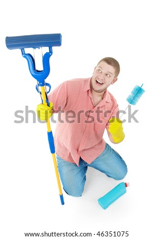 Picture of joyful  professional cleaner. Isolated over white. - stock photo