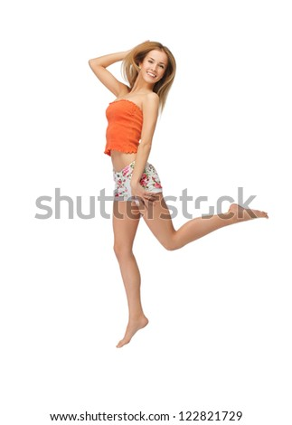 picture of jumping beautiful woman in casual clothes