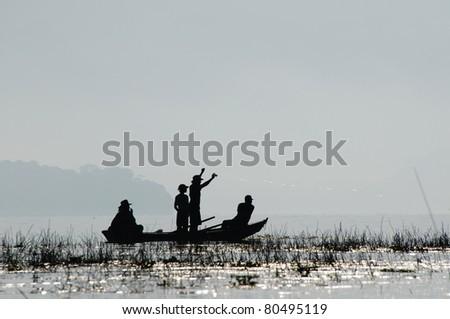 Picture of lake Yojoa as a popular fishing destination - stock photo