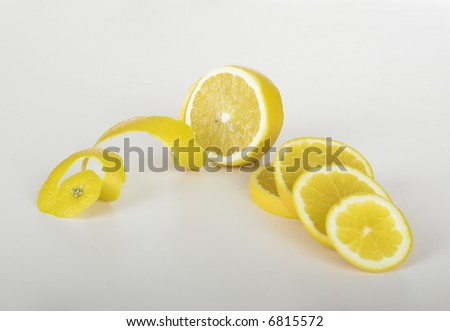 Picture of lemons over a white table