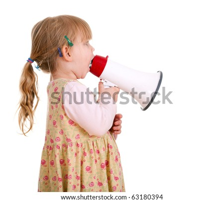 picture of little girl in dress with megaphone