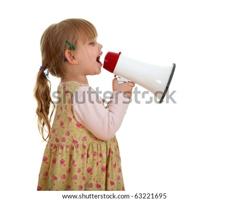 picture of little girl in dress with megaphone - stock photo