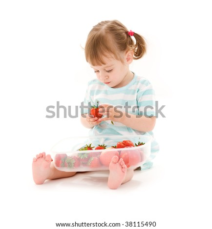 picture of little girl with strawberry over white