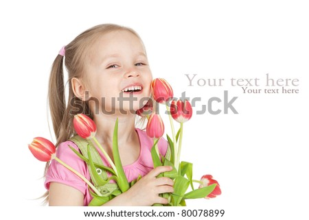 Picture of little girl with tulips in hands over white - stock photo