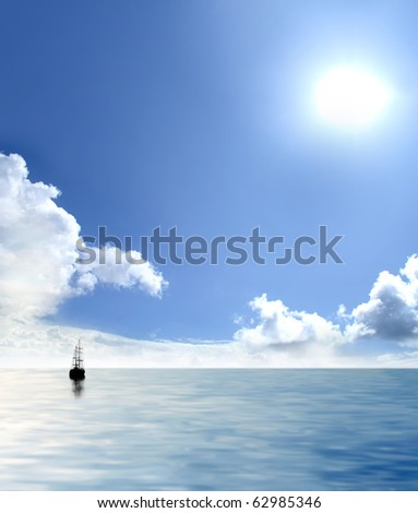 Picture of lonely sailing boat - stock photo