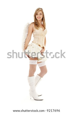 picture of lovely angel girl in furry skirt and corset - stock photo