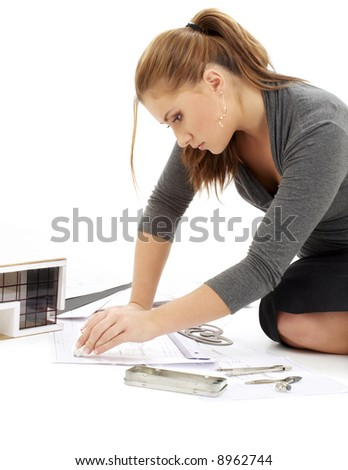 picture of lovely architect girl at work - stock photo