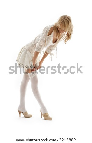 picture of lovely blond dressing up over white - stock photo