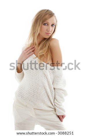 picture of lovely blond in white linen trousers and sweater
