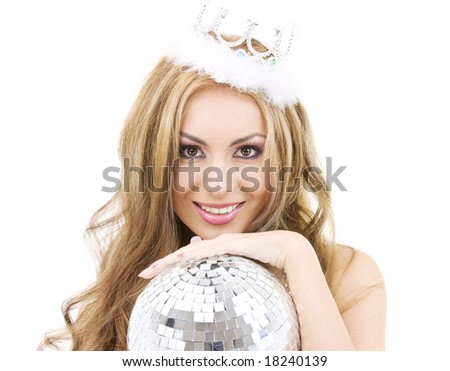picture of lovely fairy in crown with disco ball - stock photo