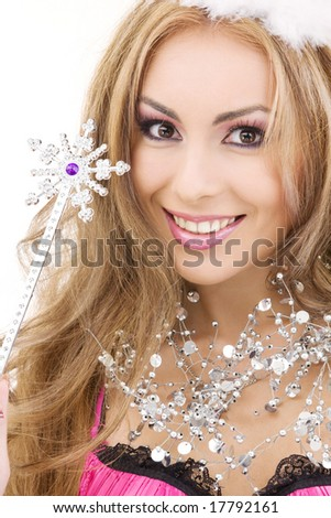 picture of lovely fairy in crown with magic wand - stock photo
