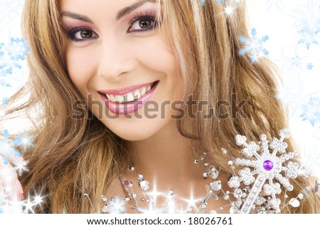 picture of lovely fairy with magic wand - stock photo