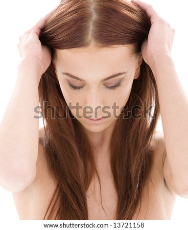 picture of lovely long hair girl over white - stock photo