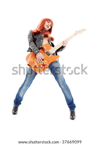 picture of lovely redhead girl with orange guitar - stock photo