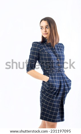 picture of lovely woman in classic blue dress - stock photo