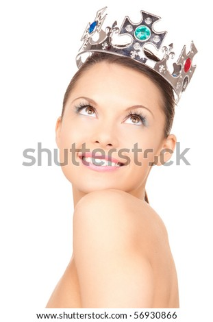 picture of lovely woman in crown over white - stock photo